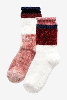 Pink And Cream Supersoft Bed Socks Two Pack