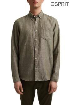 Esprit Green Linen Blend Button-Down Shirt