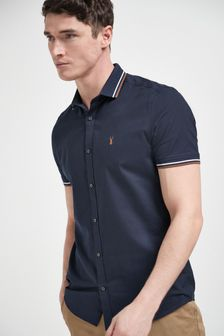 Navy Blue Slim Fit Stretch Oxford Tipped Collar Short Sleeve Shirt