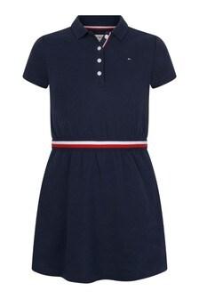فستان بولو قطن أزرق داكن بناتي