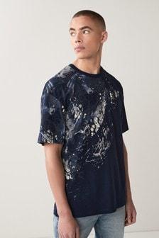 Navy Print Oversized T-Shirt