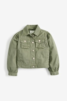 Khaki Denim Volume Sleeve Jacket (3-16yrs)