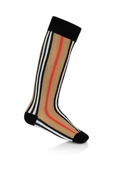 Kids Beige Icon Stripe Cotton Socks