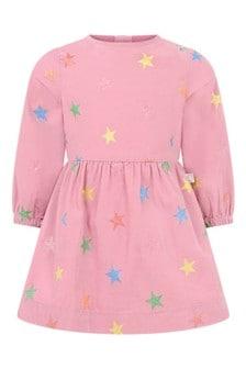 Baby Girls Pink Glitter Stars Corduroy Dress