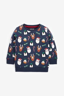Navy Christmas All Over Print Crew Sweater (3mths-7yrs)