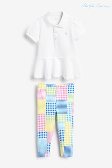 Ralph Lauren White Patchwork Top And Trouser Set