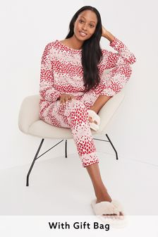 Pink Hearts Cotton Jersey Pyjamas In Gift Bag