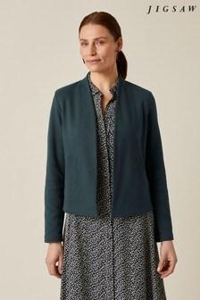 Jigsaw Green Textured Jersey Jacket