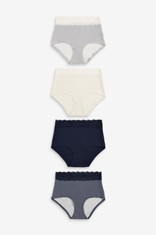 Navy/Cream/Geo Print Full Brief Lace Trim Cotton Blend Knickers Four Pack
