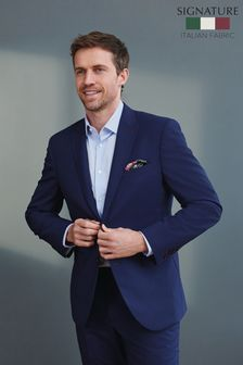 Bright Blue Tailored Fit Signature Puppytooth Suit: Jacket