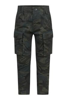 Boys Khaki Camouflage Print Cargo Trousers