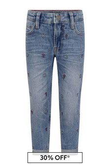 Boys Blue Denim Embroidered Straight Jeans