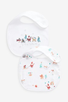 White 2 Pack My First Christmas Dribble Bibs