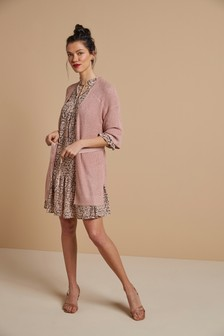 Blush Sparkle Belted Cardigan