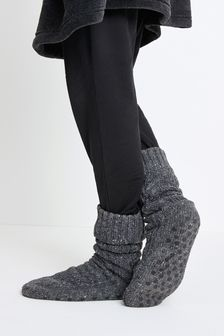 Grey Knitted Cable Borg Lined Slipper Socks