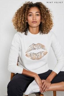 Mint Velvet Cream Sequin Lips Sweatshirt