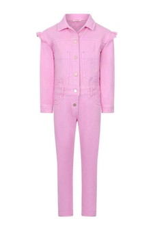 Girls Pink Cotton Jumpsuit
