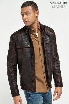 Brown Signature Leather Biker Jacket