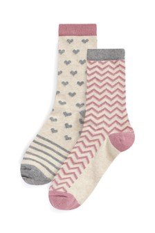 Pink And Grey Hearts Thermal Ankle Socks Two Pack