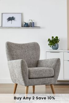 Chunky Chenille Light Grey Wilson Accent Chair With Light Legs