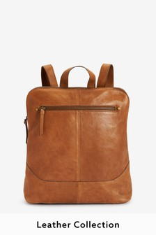 Tan Leather Stitch Detail Backpack