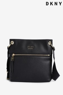 DKNY Black Polly Tassle Leather Crossbody Bag