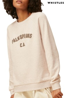 Whistles Oatmeal Palm Springs Logo Sweatshirt