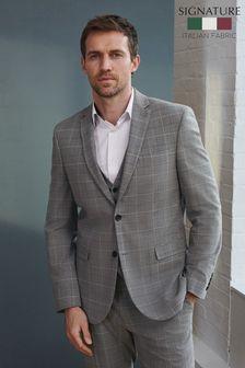 Grey Check Slim Fit Signature Tollegno Fabric Motion Flex Suit: Jacket