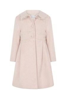 Girls Pink Lace Details Coat