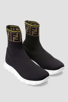 Kids Black Logo Sock Trainers