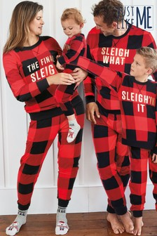 Red/Black Matching Family Womens Christmas Slogan Check Pyjamas