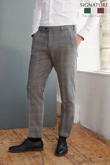 Grey Slim Fit Signature Motionflex Check Suit: Trousers