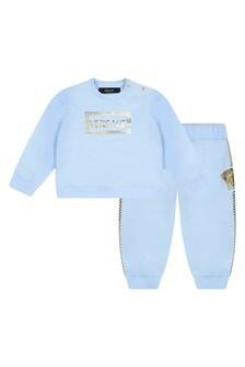 Baby Boys Blue Cotton Logo Tracksuit