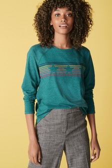Teal Star Stipe Raglan Long Sleeve Top