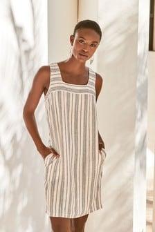 White/Navy Stripe Linen Blend Square Neck Dress