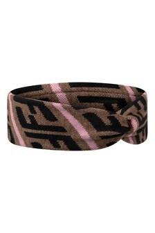 Girls Brown Wool FF Logo Headband