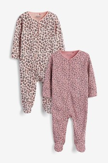 Berry 2 Pack Leopard Zip Sleepsuits (0mths-2yrs)