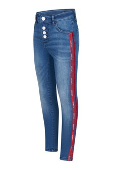 Girls Blue/Red Logo Trim Jeans