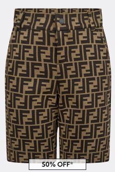 Fendi Kids Boys Brown FF Logo Bermuda Shorts