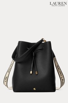 Lauren Ralph Lauren® Black Leather Debbie Drawstring Bag