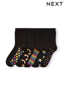 Rainbow Footbed Ankle Socks Five Pack