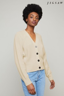Jigsaw Cream Button Through Ribbed Cardigan