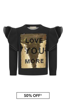 Girls Black Sequins Sweater