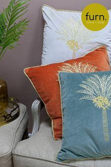 Orange Velvet Desert Palm Cushion by Furn