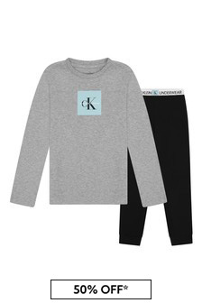 Boys Grey/Black Cotton Pyjamas