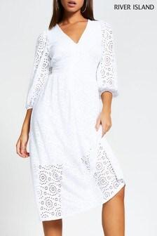 River Island White Broidery Midi Smock Dress