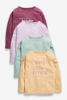 Multi Long Sleeve 4 Pack Muted Tone T-Shirts (3-16yrs)