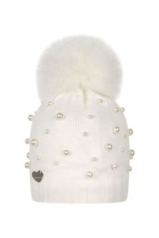 Girls Ivory Wool & Pearl Pom Pom Hat