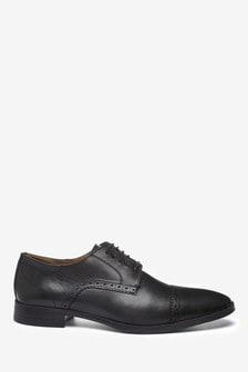 Black Leather Toe Cap Shoes