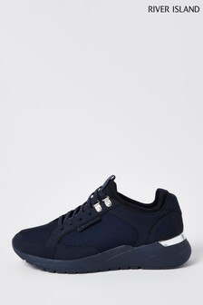 River Island Navy Mesh Neoprene Lace Up Runner Shoes